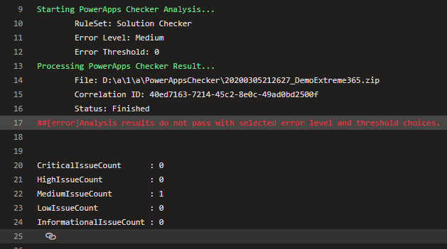 Power Apps Checker step output