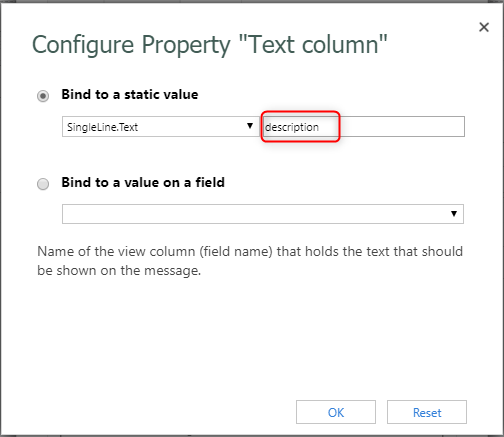 "Configure ""Text column"""