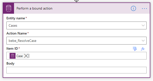 """Perform a bound action"" step configuration"