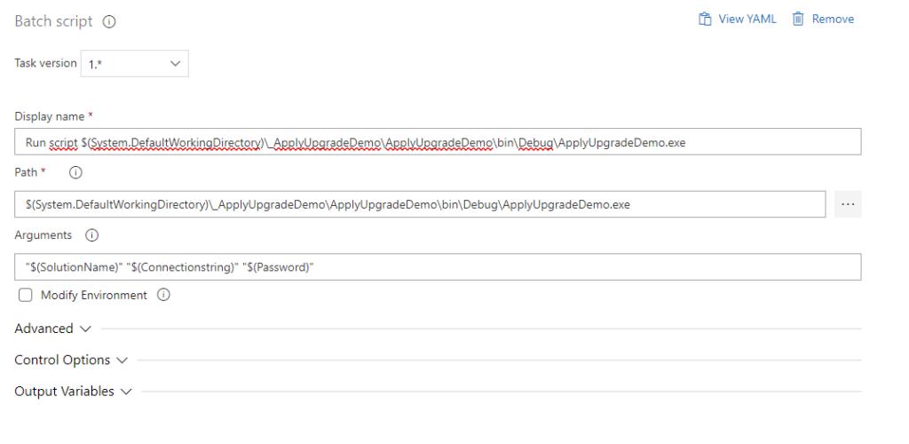 Batch Script configuration