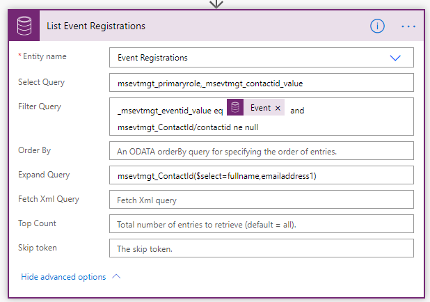 Load Event Registrations