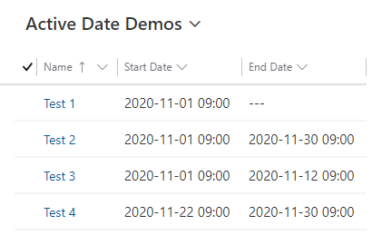 Filter rows between start and end dates