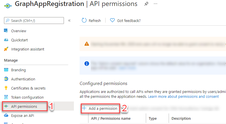 Step one to add Permissions