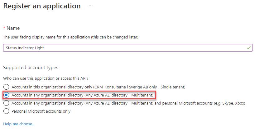 Status Indicator App Registration Create Screen
